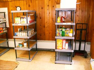Food pantry shelves ready to be used.